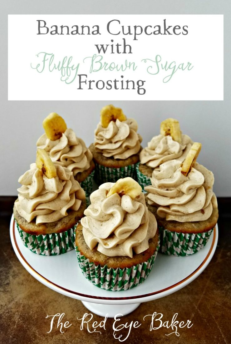 Banana Cupcakes with Fluffy Brown Sugar Frosting
