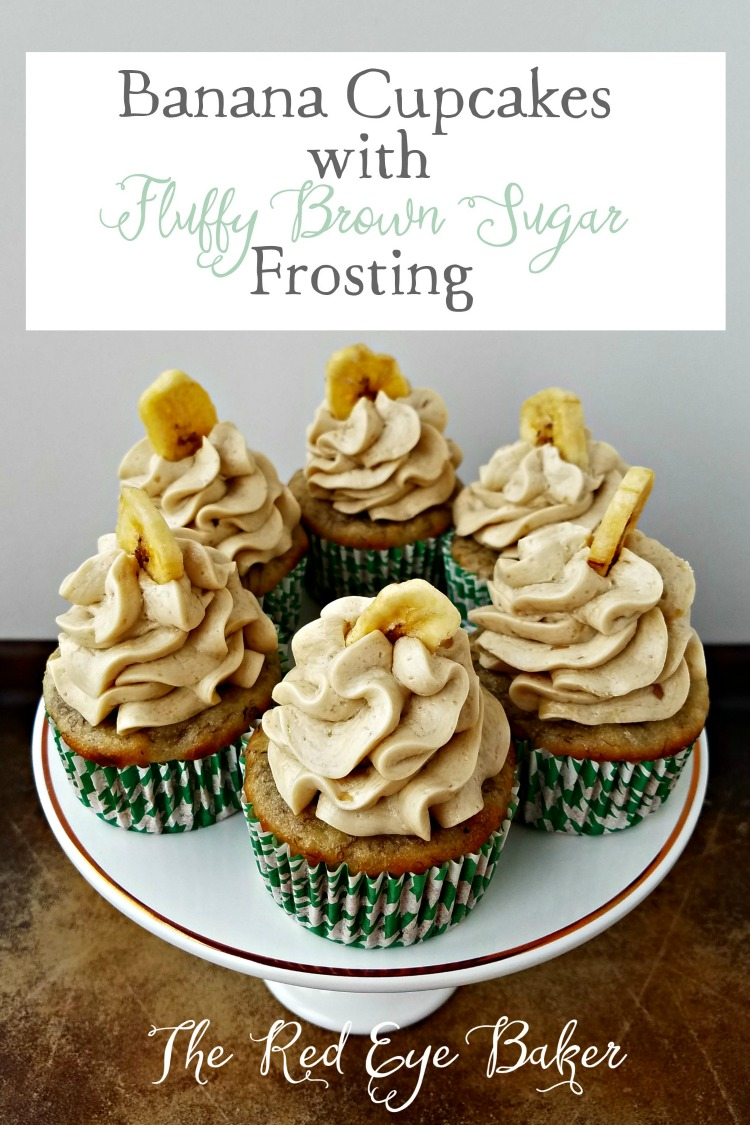 Banana Cupcakes with Fluffy Brown Sugar Frosting | Simple, sweet, and delicious. You could even have them for breakfast!