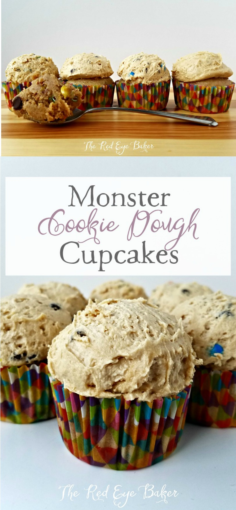 Monster Cookie Dough Cupcakes | Bring out the kid in you with these delicious Monster Cookie Dough Cupcakes, filled with edible cookie dough, M&M's, chocolate chips, and PB frosting!