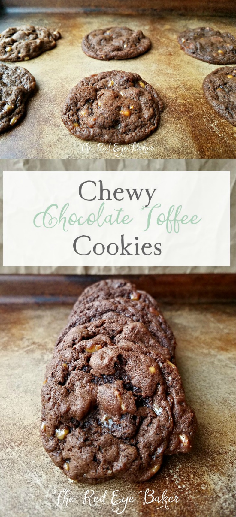 Chewy Chocolate Toffee Cookies | Delicious Chewy Chocolate Toffee Cookies filled with milk chocolate chips, Heath toffee bits, and chopped pecans. It's impossible to eat just one!
