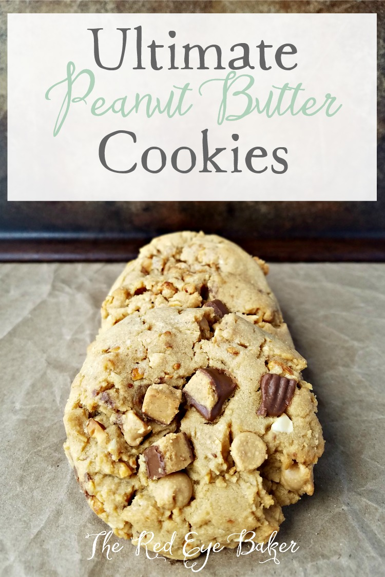 Ultimate Peanut Butter Cookies | A peanut butter lovers cookie! Ultimate Peanut Butter Cookies are filled with honey roasted peanuts, peanut butter chips and chunks of Reese's cups.