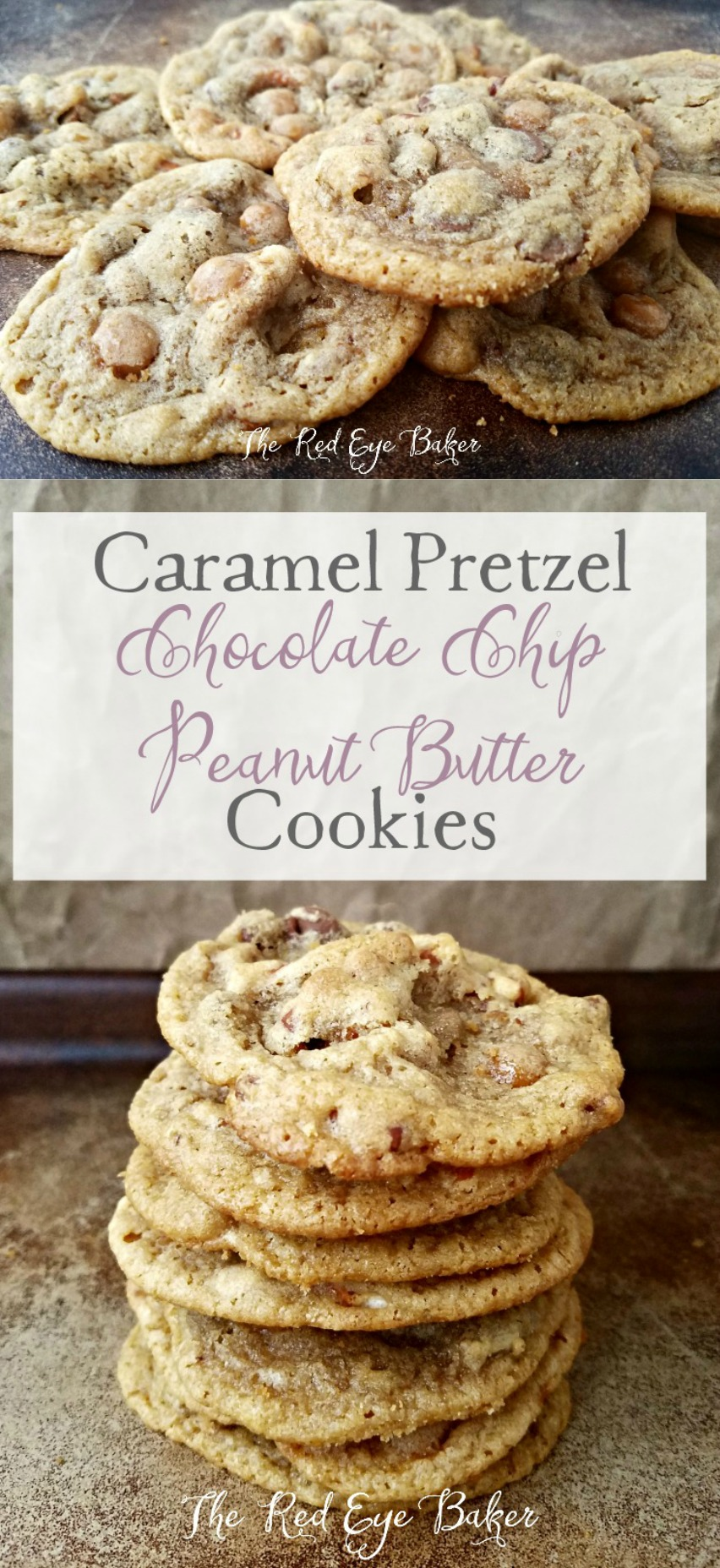 Caramel Pretzel Chocolate Chip Peanut Butter Cookies | If you love ooey, gooey, salty, and sweet then these Caramel Pretzel Chocolate Chip Peanut Butter Cookies are right up your alley!