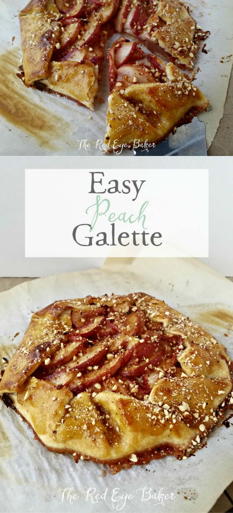 Easy Peach Galette | An easy and simple dessert. This Easy Peach Galette would work perfectly for brunch served with coffee or even a scoop of ice cream.