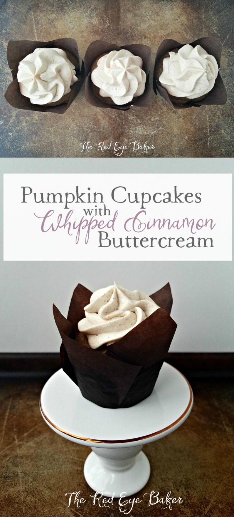 Pumpkin Cupcakes with Whipped Cinnamon Buttercream | Welcome fall into your kitchen with these perfectly spiced Pumpkin Cupcakes with delicious and fluffy Whipped Cinnamon Buttercream.